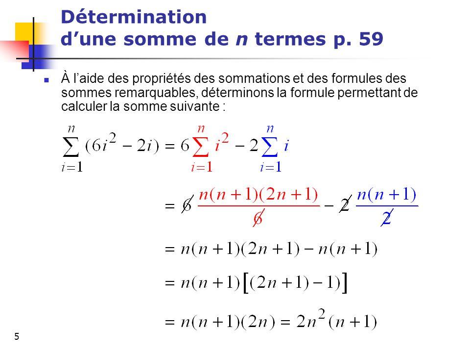 Détermination d'une somme de n termes p. 59