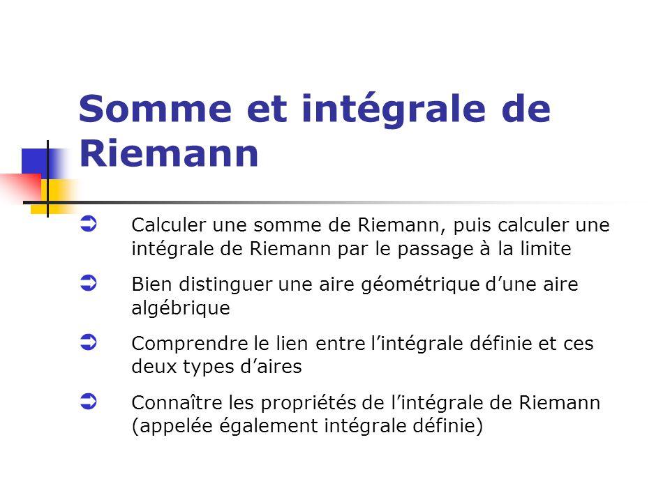 Somme et intégrale de Riemann