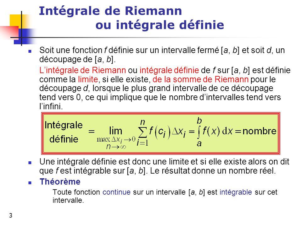 Intégrale de Riemann ou intégrale définie