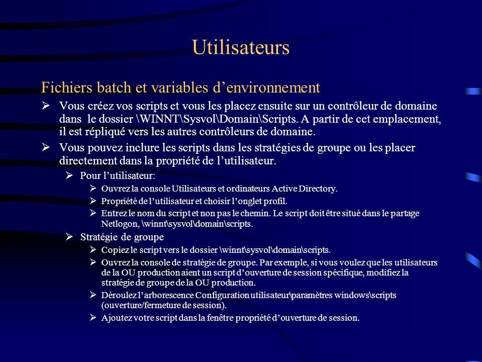 Utilisateurs La configuration des fichiers Scripts