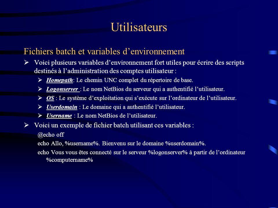 Utilisateurs Fichiers batch et variables d'environnement