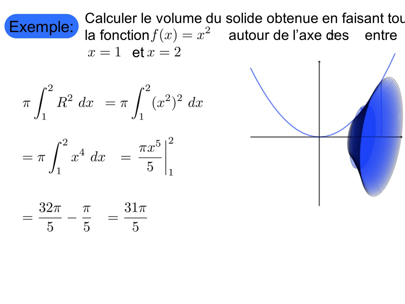 Exemple: Calculer le volume du solide obtenue en faisant tourner