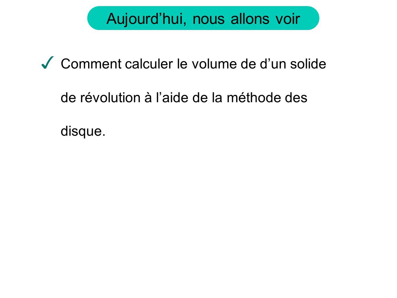 Comment calculer le volume de d'un solide de révolution à l'aide de la méthode des disque.