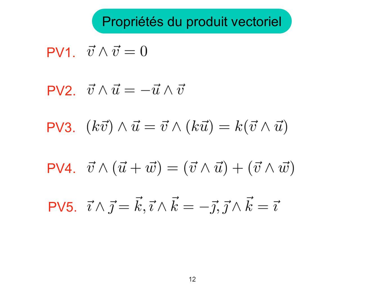 Propriétés du produit vectoriel