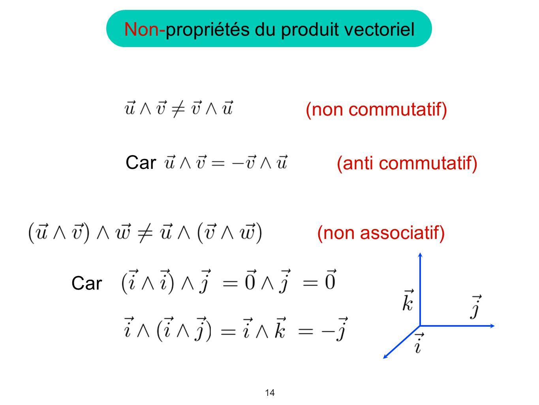 Non-propriétés du produit vectoriel