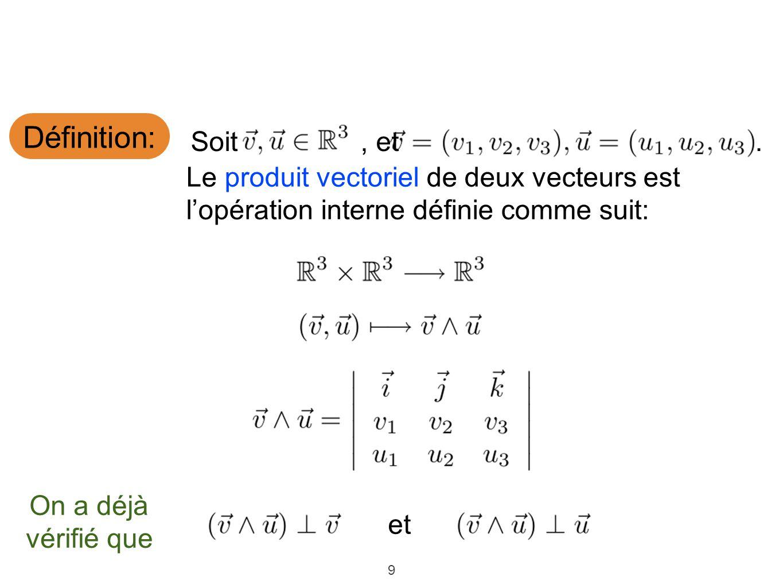 Définition: Soit , et. . Le produit vectoriel de deux vecteurs est l'opération interne définie comme suit: