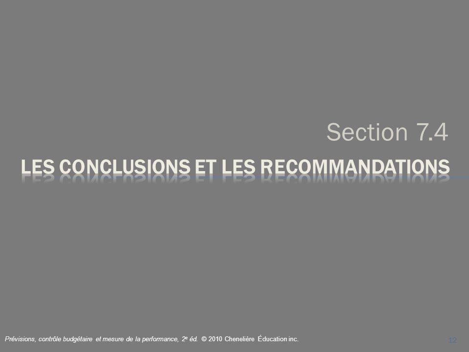 Les conclusions et les recommandations