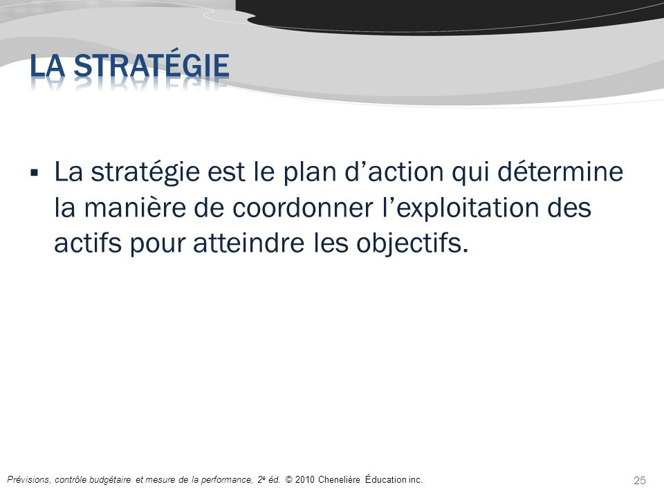 La stratégie La stratégie est le plan d'action qui détermine la manière de coordonner l'exploitation des actifs pour atteindre les objectifs.