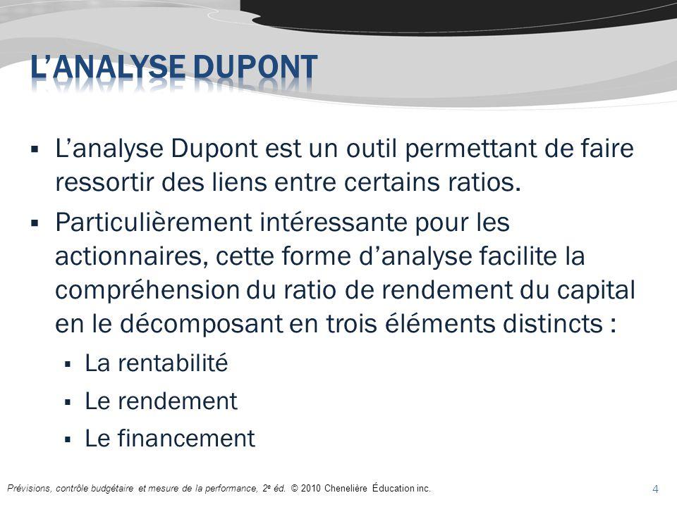 L'analyse Dupont L'analyse Dupont est un outil permettant de faire ressortir des liens entre certains ratios.