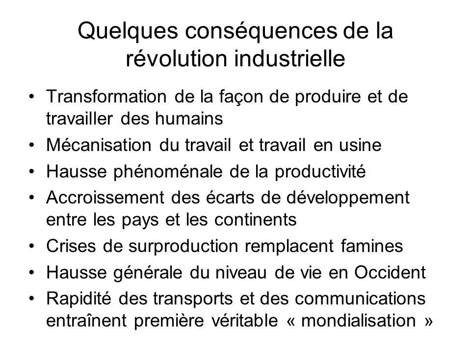 Quelques conséquences de la révolution industrielle