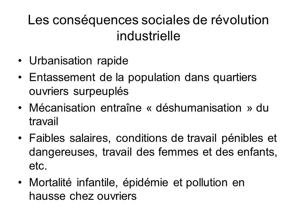 Les conséquences sociales de révolution industrielle