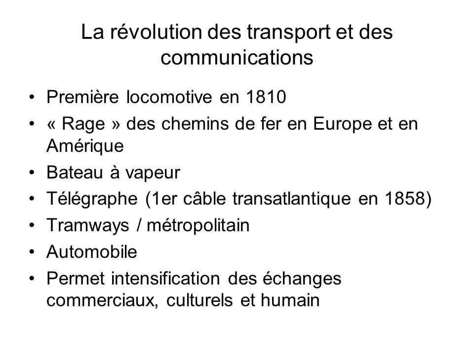 La révolution des transport et des communications