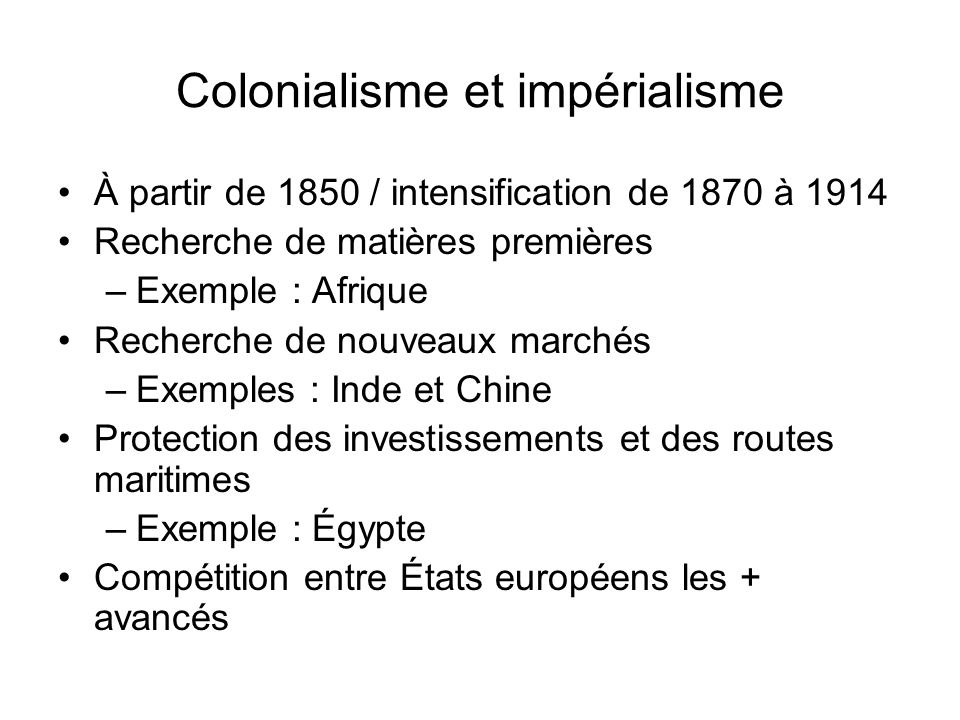 Colonialisme et impérialisme