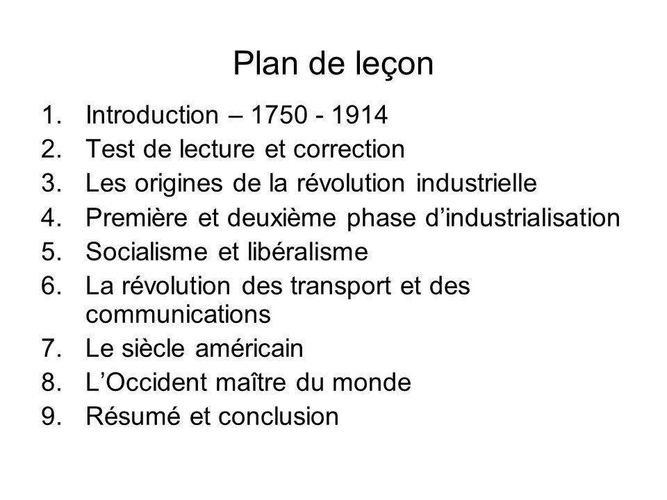 Plan de leçon Introduction – 1750 - 1914 Test de lecture et correction
