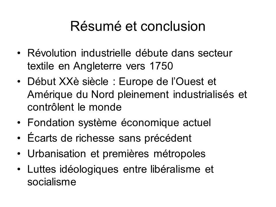 Résumé et conclusion Révolution industrielle débute dans secteur textile en Angleterre vers 1750.