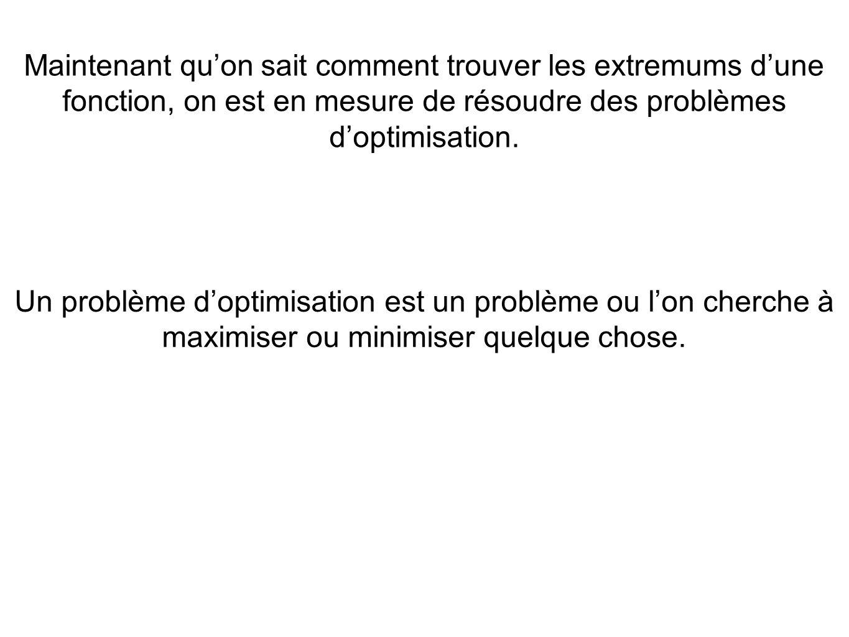 Maintenant qu'on sait comment trouver les extremums d'une fonction, on est en mesure de résoudre des problèmes d'optimisation.