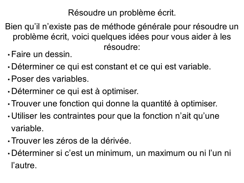 Résoudre un problème écrit.