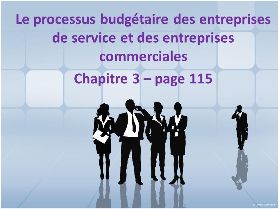 Le processus budgétaire des entreprises de service et des entreprises commerciales