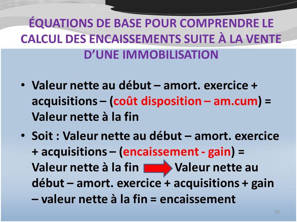 ÉQUATIONS DE BASE POUR COMPRENDRE LE CALCUL DES ENCAISSEMENTS SUITE À LA VENTE D'UNE IMMOBILISATION