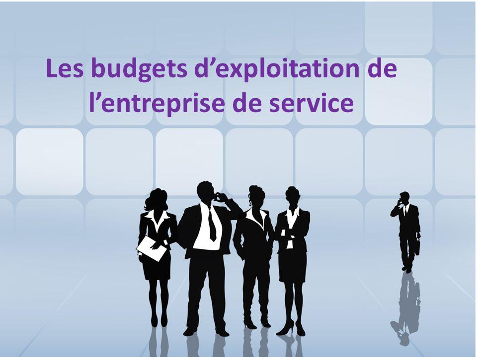 Les budgets d'exploitation de l'entreprise de service