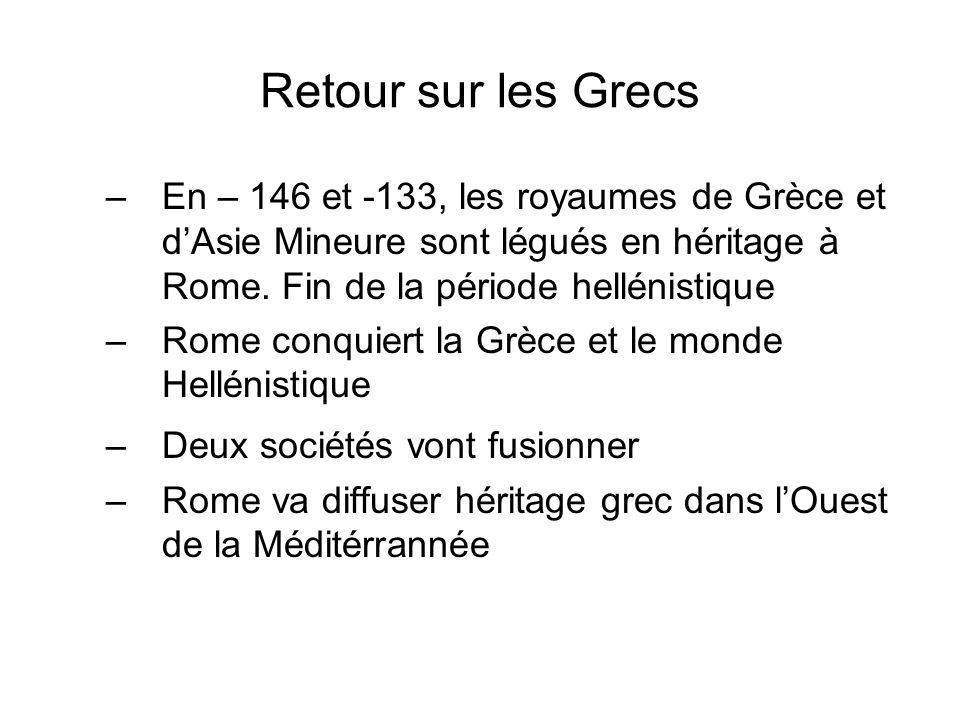 Retour sur les Grecs En – 146 et -133, les royaumes de Grèce et d'Asie Mineure sont légués en héritage à Rome. Fin de la période hellénistique.
