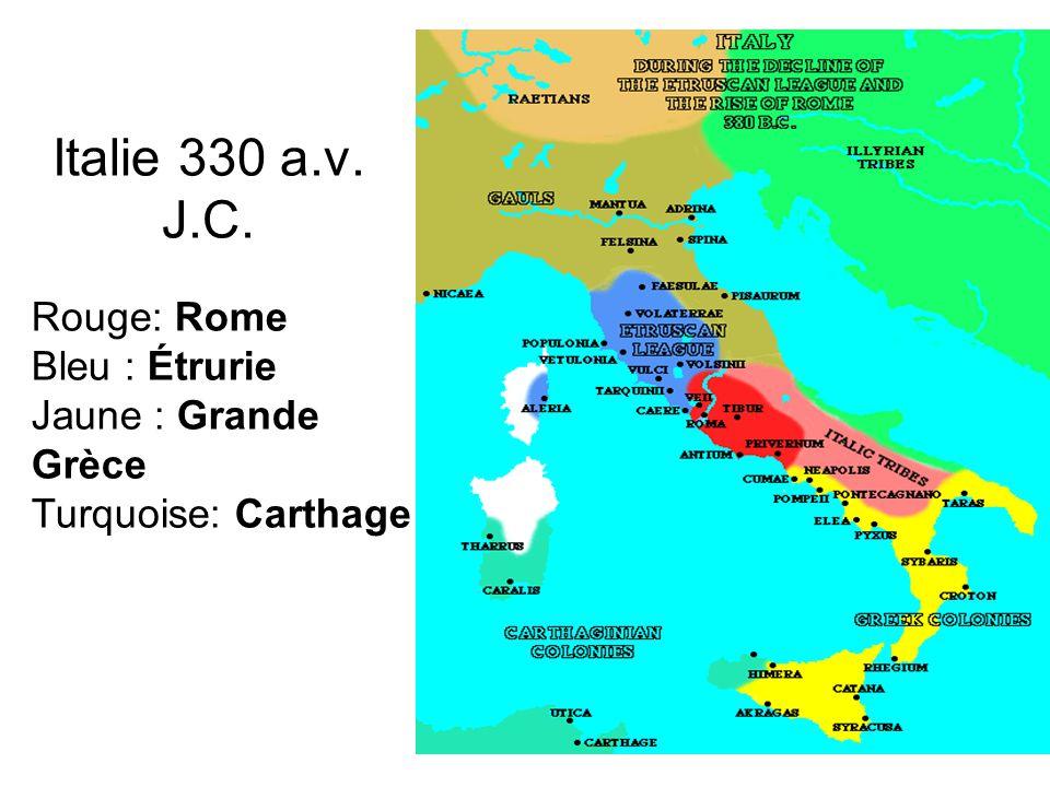 Italie 330 a.v. J.C. Rouge: Rome Bleu : Étrurie Jaune : Grande Grèce