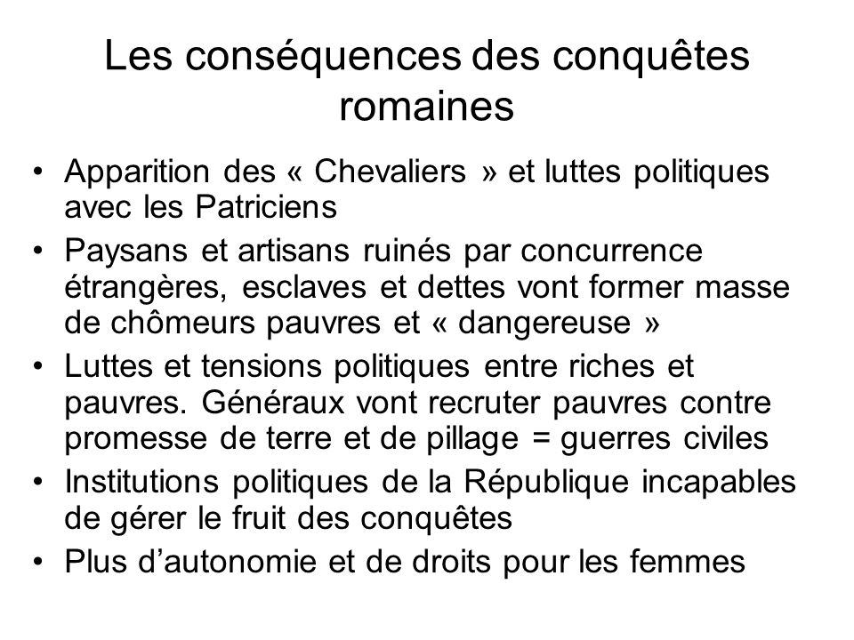 Les conséquences des conquêtes romaines