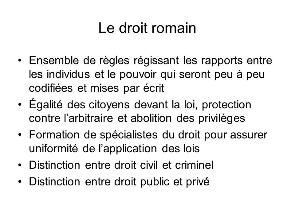 Le droit romain Ensemble de règles régissant les rapports entre les individus et le pouvoir qui seront peu à peu codifiées et mises par écrit.
