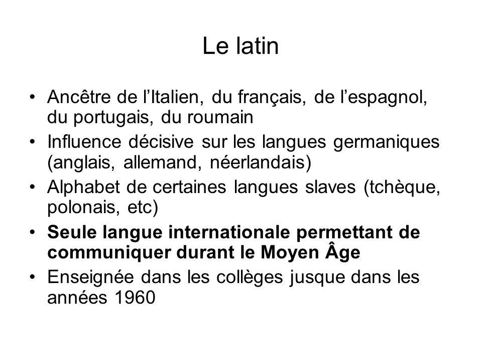 Le latin Ancêtre de l'Italien, du français, de l'espagnol, du portugais, du roumain.