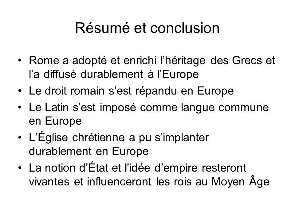 Résumé et conclusion Rome a adopté et enrichi l'héritage des Grecs et l'a diffusé durablement à l'Europe.