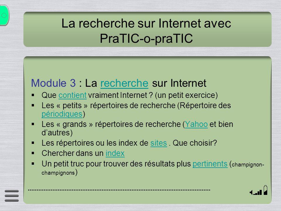 La recherche sur Internet avec PraTIC-o-praTIC