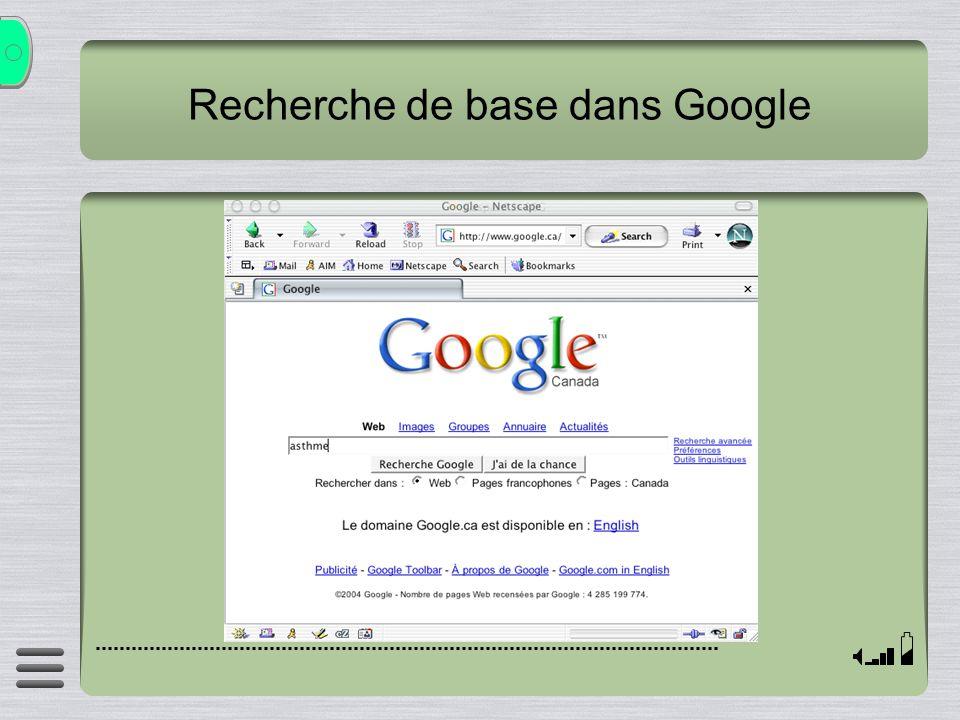 Recherche de base dans Google