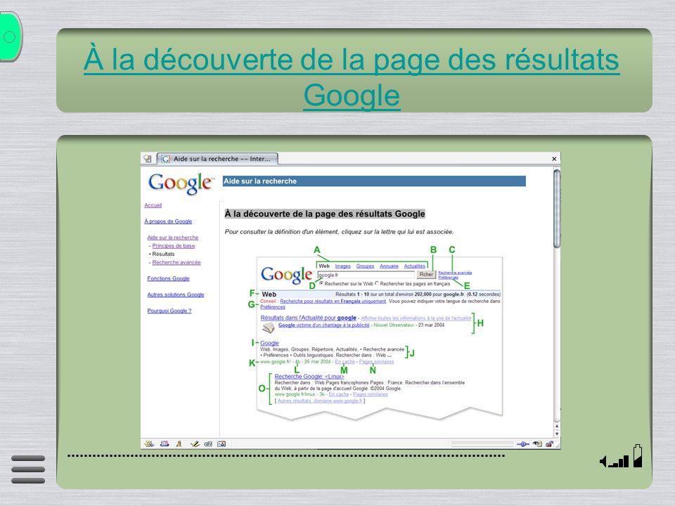 À la découverte de la page des résultats Google