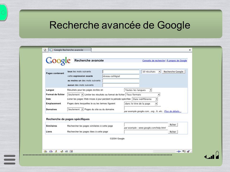 Recherche avancée de Google