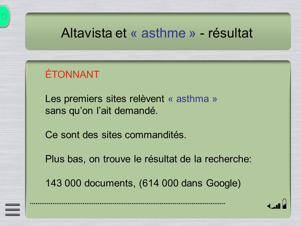 Altavista et « asthme » - résultat