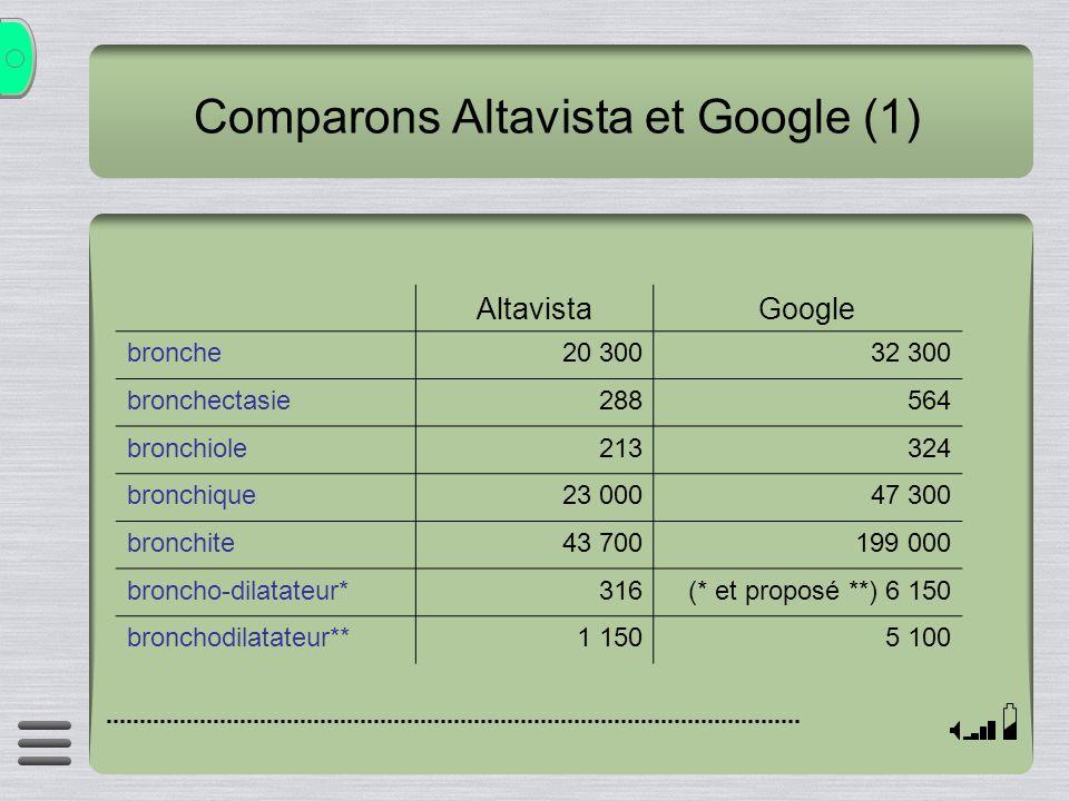 Comparons Altavista et Google (1)