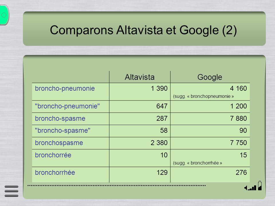 Comparons Altavista et Google (2)