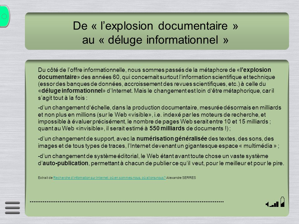 De « l'explosion documentaire » au « déluge informationnel »