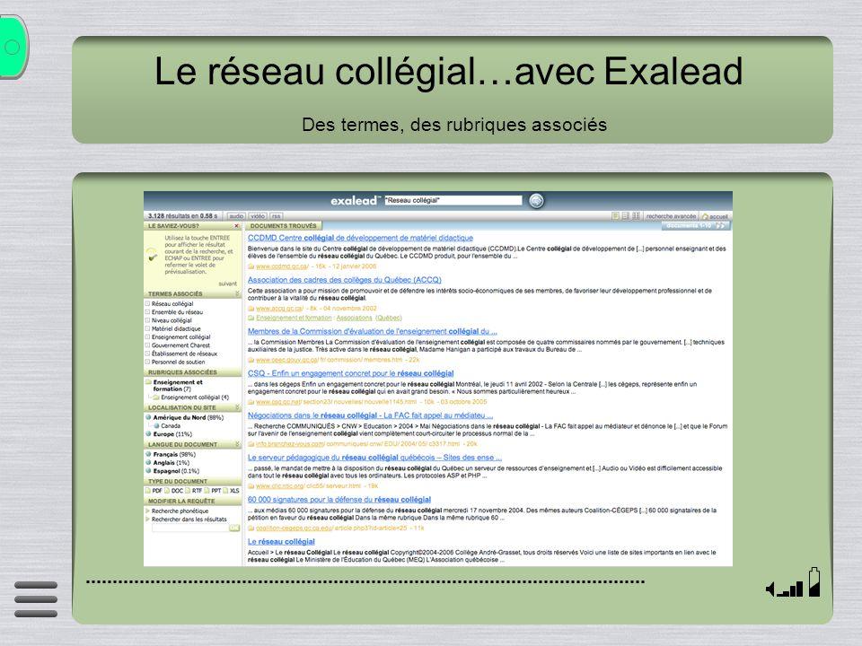 Le réseau collégial…avec Exalead Des termes, des rubriques associés