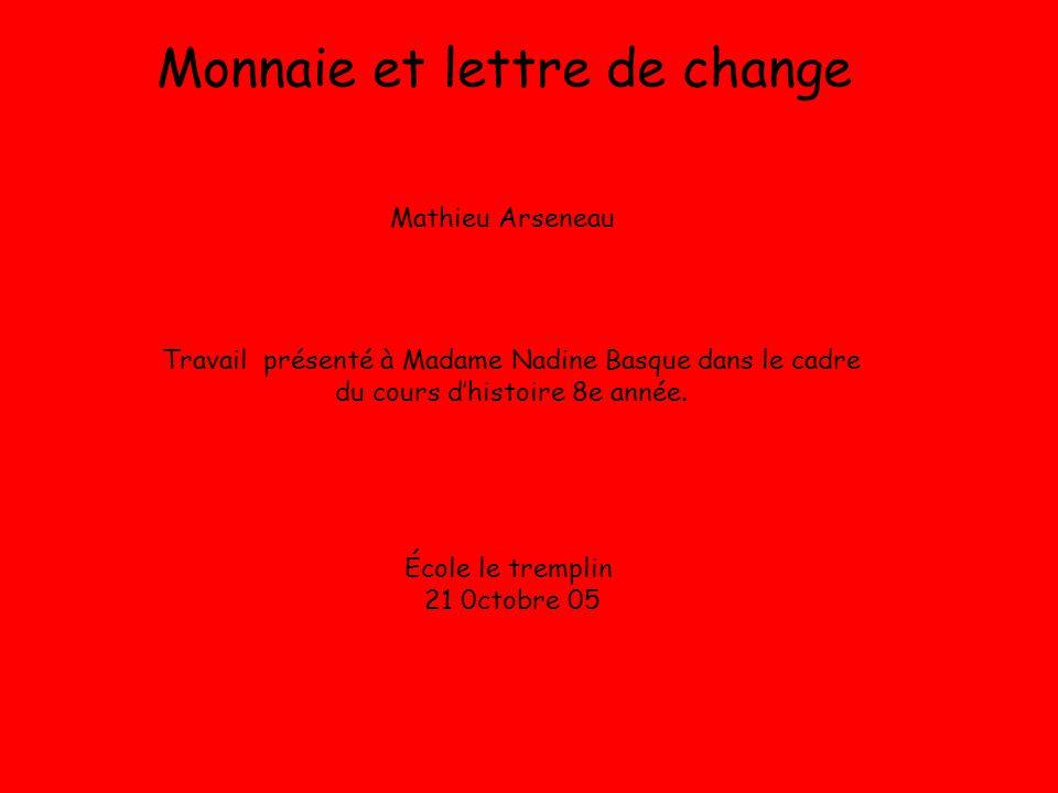 Monnaie et lettre de change