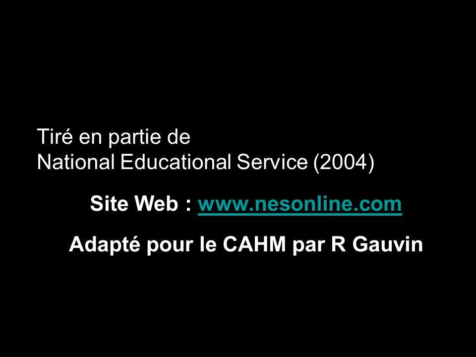 Adapté pour le CAHM par R Gauvin