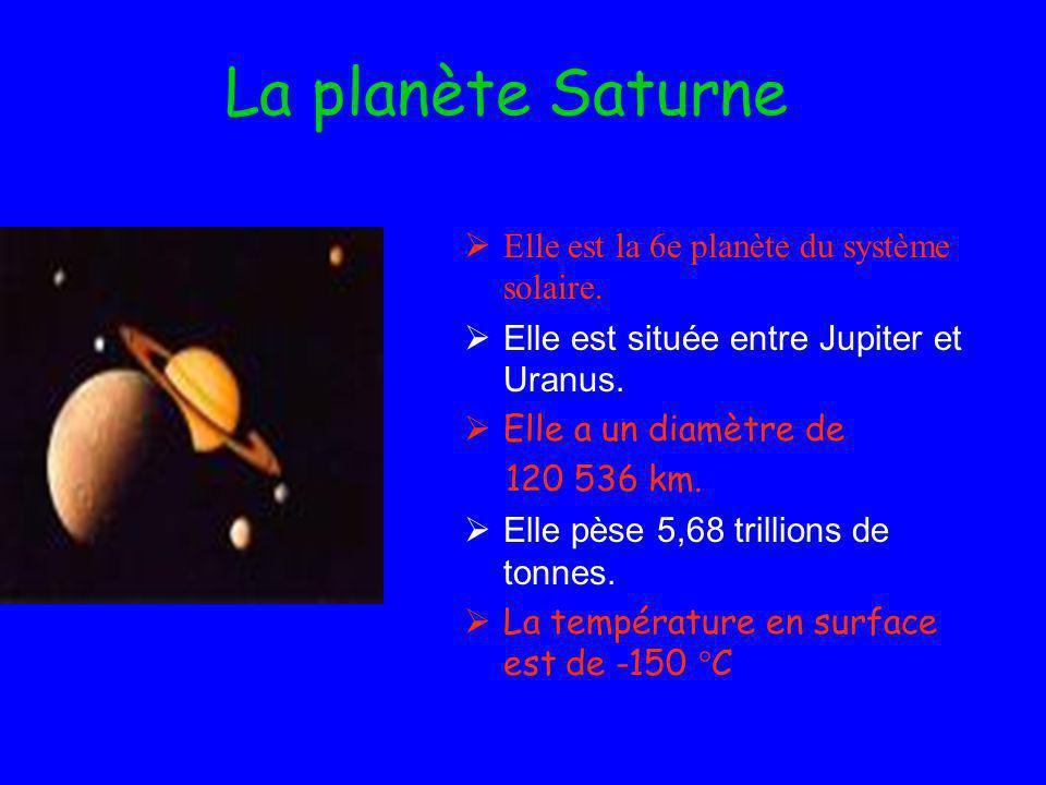 La planète Saturne Elle est la 6e planète du système solaire.