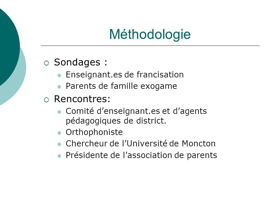 Méthodologie Sondages : Rencontres: Enseignant.es de francisation