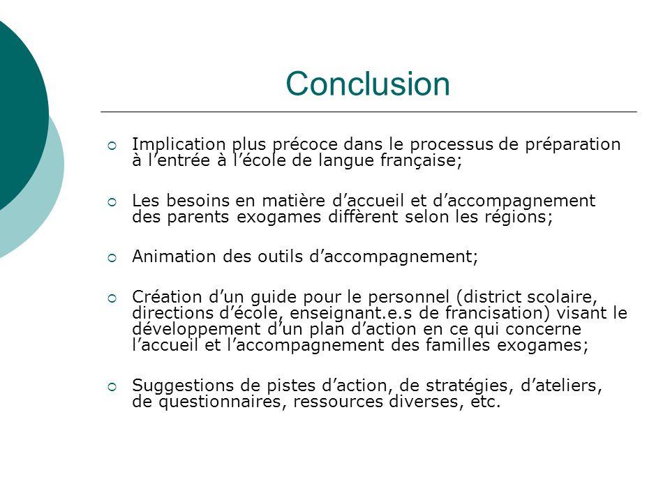 Conclusion Implication plus précoce dans le processus de préparation à l'entrée à l'école de langue française;