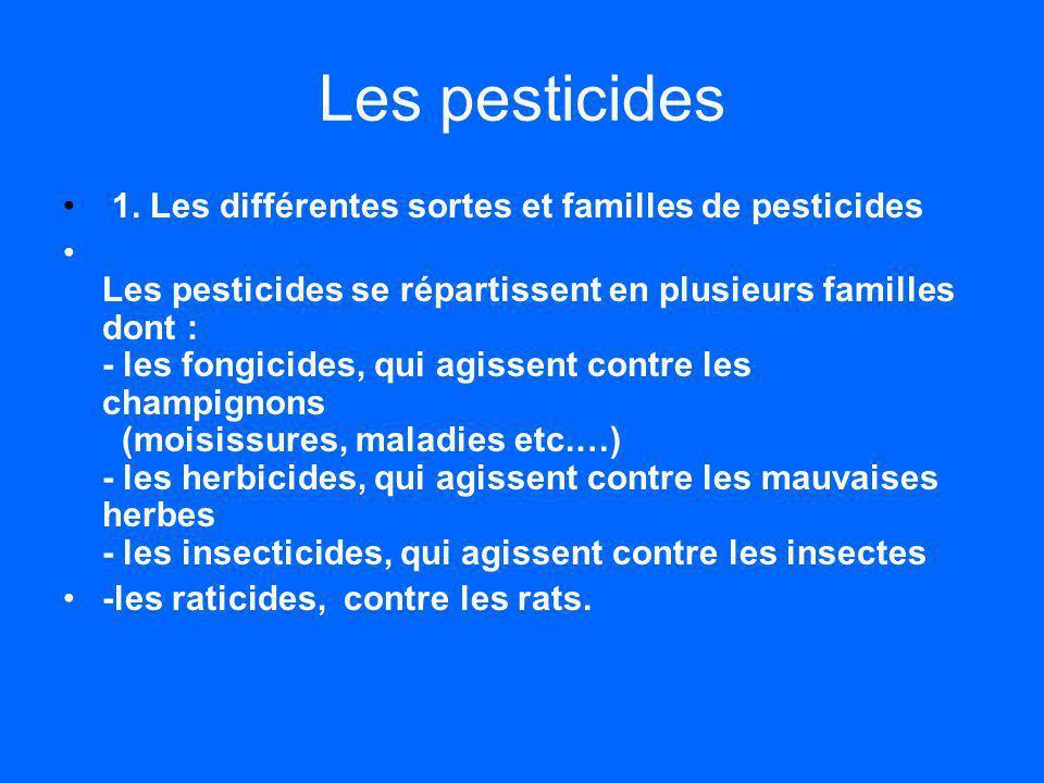 Les pesticides 1. Les différentes sortes et familles de pesticides