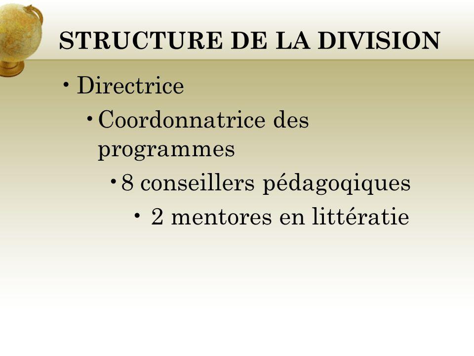 STRUCTURE DE LA DIVISION