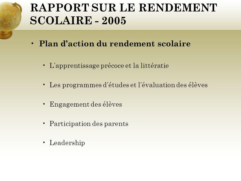 RAPPORT SUR LE RENDEMENT SCOLAIRE - 2005