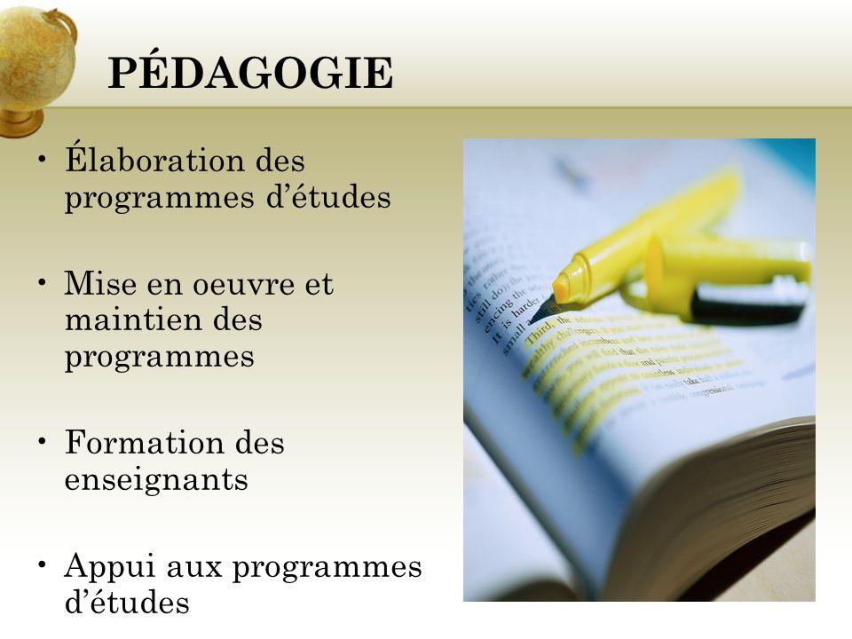 PÉDAGOGIE Élaboration des programmes d'études