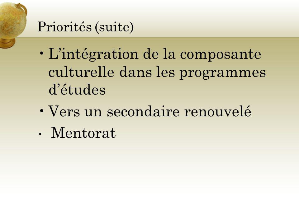 L'intégration de la composante culturelle dans les programmes d'études