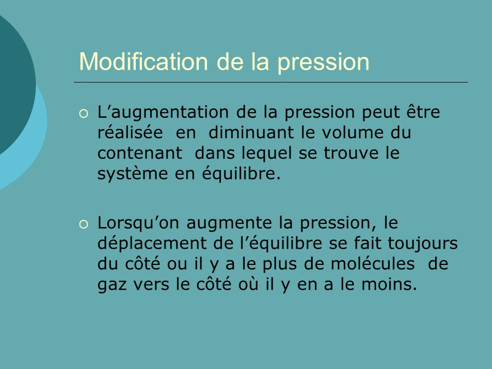 Modification de la pression